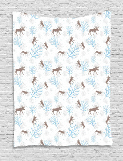 Winter Retro Forest Tapestry