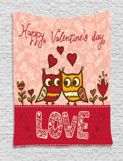 Owls Love Heart Tapestry