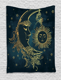 Moon wih Boho Feathers Tapestry