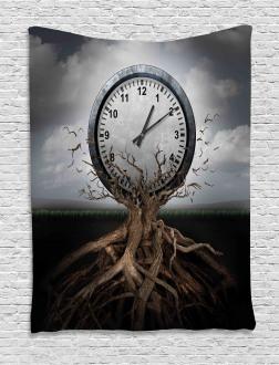Clock Surrealist Symbol Tapestry