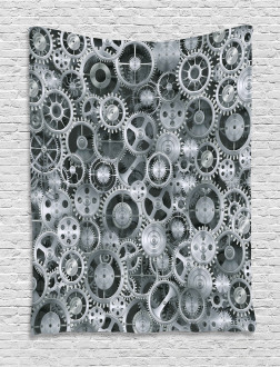 Clock Technologic Pattern Tapestry