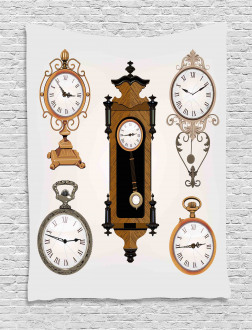 Antique Clocks Pattern Tapestry