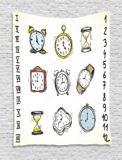 Hand Drawn Vintage Clock Tapestry