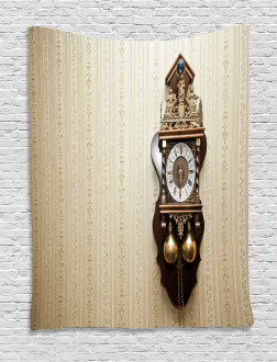 Wood Wall Carving Clock Tapestry