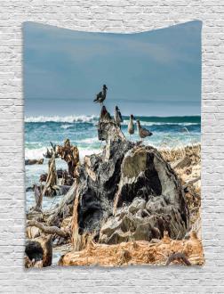 Driftwood Shore Seagull Tapestry