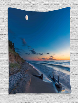 The Moon in the Sky Lake Tapestry