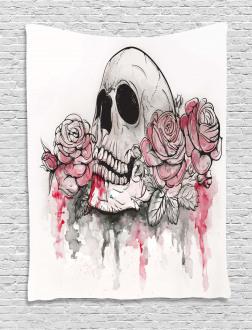 Skull Head Roses Tapestry