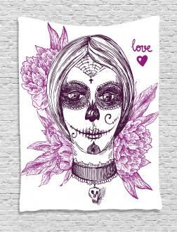 Vampire Skull Face Tapestry