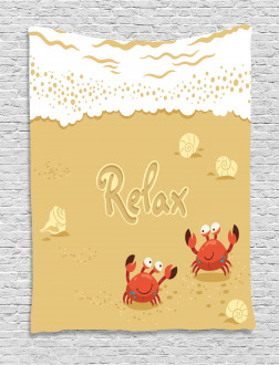 Card with Cute Crabs Sea Tapestry