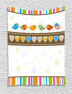 Birds Hearts Stripes Tapestry