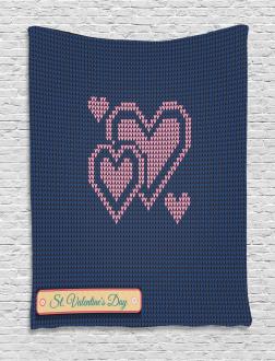 Digital Knit Hearts Tapestry