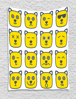 Cat Dog Smiley Expression Tapestry