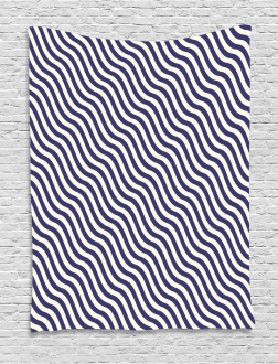 Wavy Stripes Dark Blue Tapestry