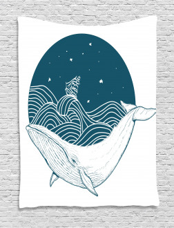 Whale and Stars Old Ship Tapestry