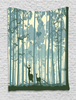 Animals in Foggy Forest Tapestry