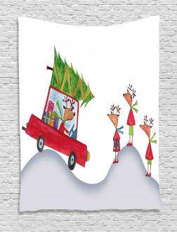 Reindeer Family Noel Tapestry