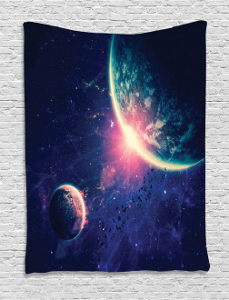 Outer Space Mars Planets Tapestry