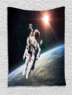Astronaut with Sun Beams Tapestry