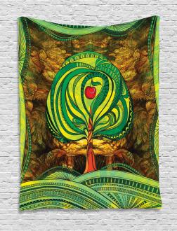 Vivid Apple Tree Lines Tapestry