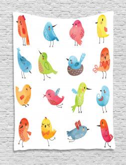 Colorful Cute Humor Bird Tapestry
