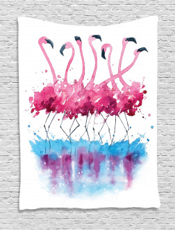 Lovely Flamingo and Bird Tapestry