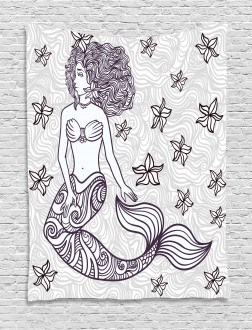 Magical Mermaid with Wave Tapestry