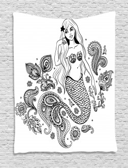 Mermaid Figure in Ocean Tapestry