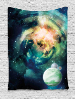 Spiral Galaxy and Planets Tapestry