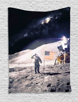 Astronaut on Moon Mission Tapestry
