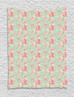 Retro Spring Blossoms Tapestry