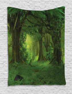 Tropical Jungle Trees Tapestry