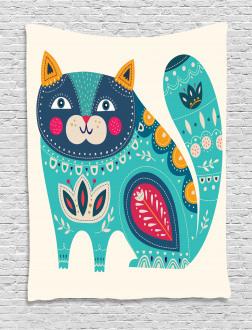 Paisley Style Cat Kitten Tapestry