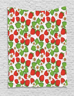 Floral Strawberry Scene Tapestry