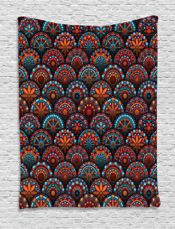 Geometric Floral Forms Tapestry