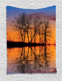 Sunset by Lake View Tapestry