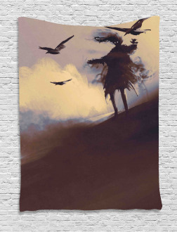 Dark Soul Crows on Hills Tapestry