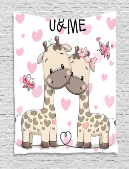 Baby Giraffes and Hearts Tapestry