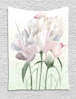 Pink Rose Tulip Abstract Tapestry
