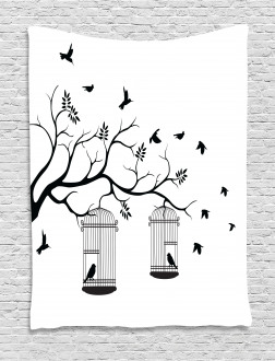 Birds Flying to Cages Tapestry