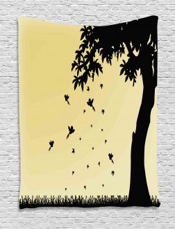 Tree with Falling Leaves Tapestry
