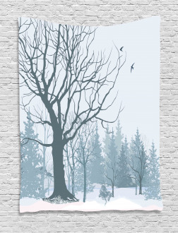 Snowy Forest Trees Birds Tapestry