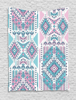 Pink Teal Aztec Tapestry