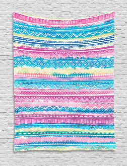 Watercolor Aztec Stripes Tapestry