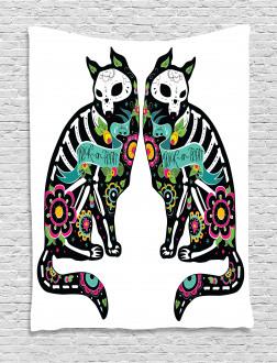 Skeleton Cats Skull Tapestry