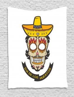 Skull with Sombrero Tapestry