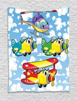 Kids Cute Airplanes Sky Tapestry