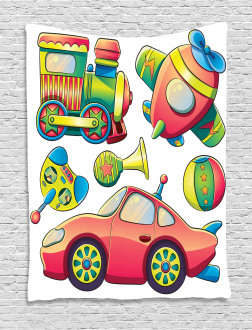 Balls Auto Tire Cartoon Tapestry