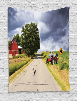 Barn and Tractor on Side Tapestry