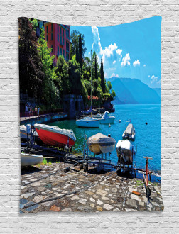 Boats European Sea Town Tapestry