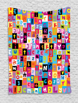 Colored Alphabet Puzzle Tapestry